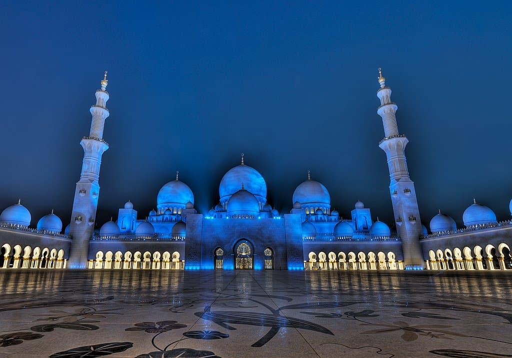 Zayed Moschee am Abend